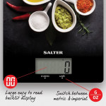 Balance de Cuisine en Verre, Motifs Épices, SALTER, 15,5 x 2 x 22,5 cm