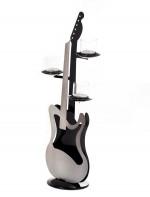 Bougeoir guitare électrique argent et noir, 3 coupelles