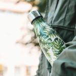 Bouteille isotherme FEUILLES PALMIER à double paroi, 500 ml, Gourde en acier inoxydable - Garde Froid 8h ou Chaud 12h - Sans BPA