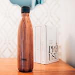 Bouteille isotherme effet BOIS à double paroi, 750 ml, Gourde en acier inoxydable - Garde Froid 8h ou Chaud 12h - Sans BPA