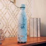 Bouteille isotherme effet Marbre Blanc à double paroi, 500 ml, Gourde en acier inoxydable - Garde Froid 8h ou Chaud 12h - Sans BPA