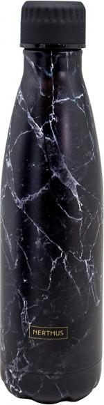 Bouteille isotherme effet Marbre Noir à double paroi, 500 ml, Gourde en acier inoxydable - Garde Froid 8h ou Chaud 12h - Sans BPA