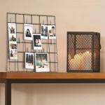Pêle-mêle, cadre photos avec Led et pinces, métal blanc, 36 x 0,5 x 36 cm