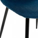 Chaise TYKA bleu navy, tissu et pieds en métal noir