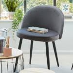 Chaise en velours gris, pieds en métal noir
