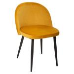 Chaise en velours jaune, pieds en métal noir