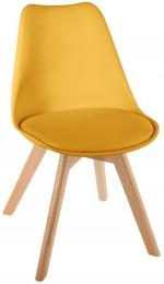 Chaise scandinave avec coussin jaune