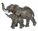 Eléphant et son éléphanteau – Statuette en résine – H 12,5 cm