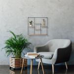 Etagère carrée en bois et métal 60 x 60 cm