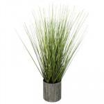 Herbes dans pot en métal H45 cm, Plante artificielle