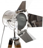 Lampadaire projecteur sur trépied en bambou H139cm -1