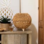 Lampe boule en bois naturel, H 32 cm