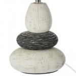 Lampe céramique 3 galets Ivoire, H 34 cm