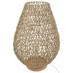 Lampe à poser métal et papier tressé, Beige, H 55cm