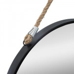 Miroir rond en métal avec corde, Diam 55 cm