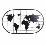 Pêle-mêle mappemonde en métal noir 60x35 cm