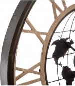 Pendule silencieuse en métal et bois – Décor  Mappemonde – D 67