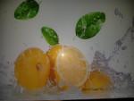 Planche à découper en verre trempé 4mm, 40x30 cm, Décor Citrons