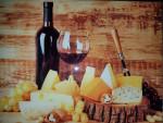 Planche à découper en verre trempé 4mm, 40x30 cm, Décor vin et fromages