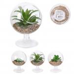 Plante artificielle, verre sur pied, Ø9,7 H13 cm