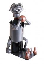 Porte-bouteille – Joueur de Bowling - Sculpture en métal - Idée cadeau
