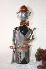 Porte-bouteille vin décoratif – Joueur de golf - Sculpture en métal - Idée cadeau