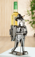Porte-bouteille vin décoratif – Randonneur- Sculpture en métal - Idée cadeau