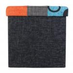 Pouf en Patchwork multicolore - Coffre de rangement pliable