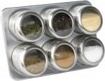 Set de 6 pots à épices ronds aimantés et  support magnétique