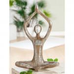 Statue Femme Yoga en résine, mains jointes, H 37 cm