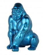Statue gorille en polyrésine – Bleu – H 41cm