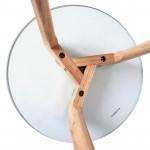 Table Basse en Verre D 50 cm, Transparent, Pieds en bois