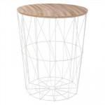 Table café métal blanc - H 57 cm