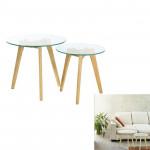 Tables gigognes en Verre D 50 et 40 cm, Transparent, Pieds en bois