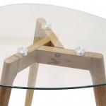 Tables gigognes en Verre, Forme Galet, Transparent, Pieds en bois