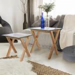 Tables gigognes en Verre, Plateau carré 50 et 40 cm, Transparent, Pieds en bois