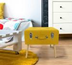Tabouret coffre valise jaune