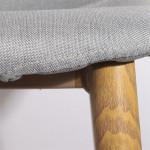 Tabouret de bar, Tissu gris, Pieds en métal effet Bois