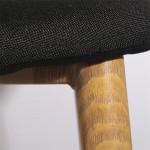 Tabouret de bar, Tissu noir, Pieds en métal effet Bois