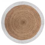 Tapis rond en jute, Bord blanc, Diam 120 cm