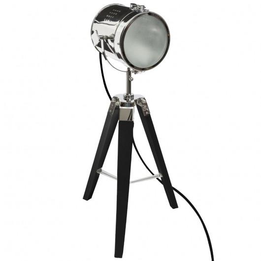 Lampe projecteur bois noir