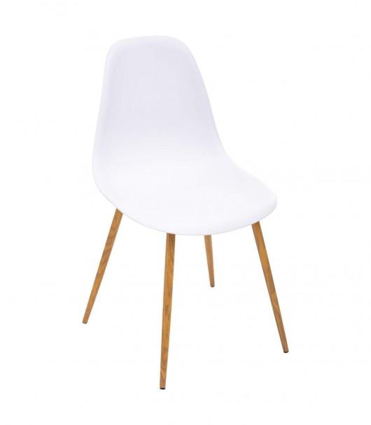 Chaise Blanche - Pieds en métal façon Chêne