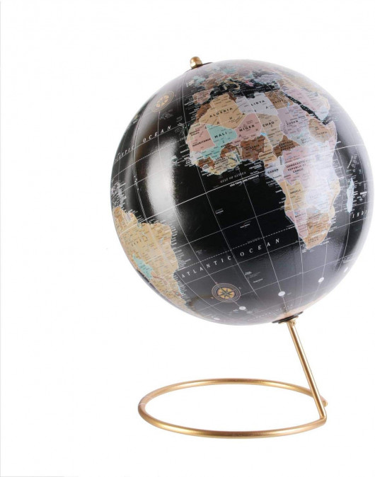 Globe Terrestre décoratif 21,5 x 29 cm, pied en métal