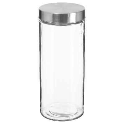 Bocal en verre+ Inox 2L, D 11 x H 27,5 cm, Conservation des aliments