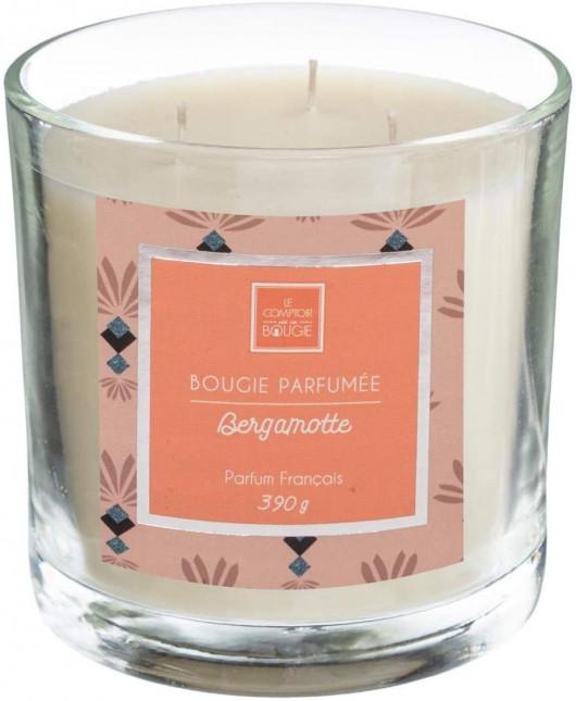 Bougie parfumée zestes de bergamote dans pot en verre 390G