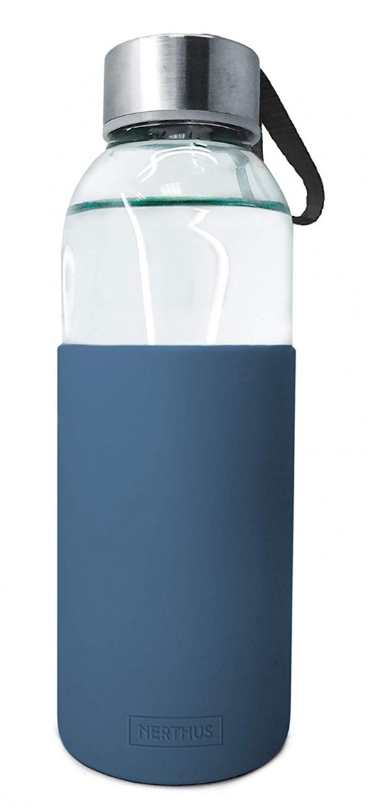Bouteille - gourde en verre 400 ml – Bleu ardoise