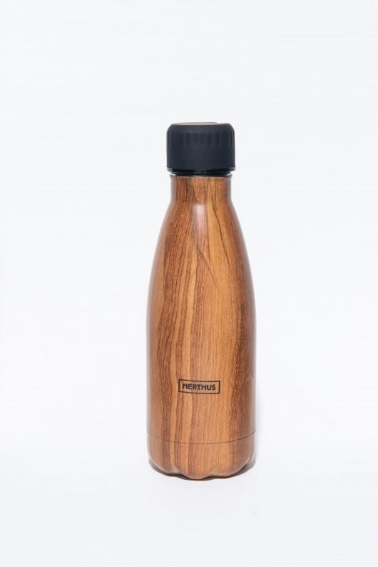Bouteille isotherme BOIS à double paroi, 350 ml, Gourde en acier inoxydable - Garde Froid 8h ou Chaud 12h - Sans BPA