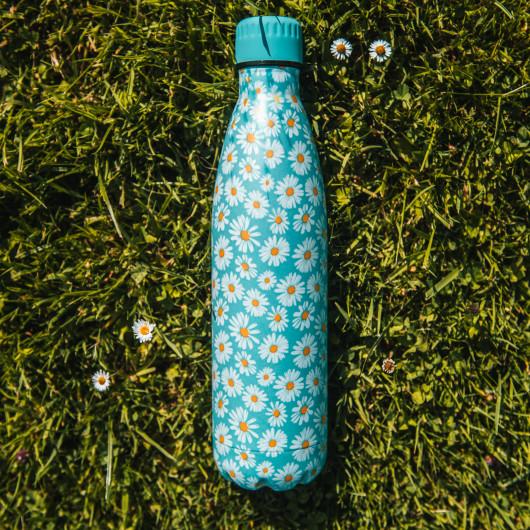 Bouteille isotherme FLEURS JAUNES à double paroi, 750 ml, Gourde en acier inoxydable - Garde Froid 8h ou Chaud 12h - Sans BPA
