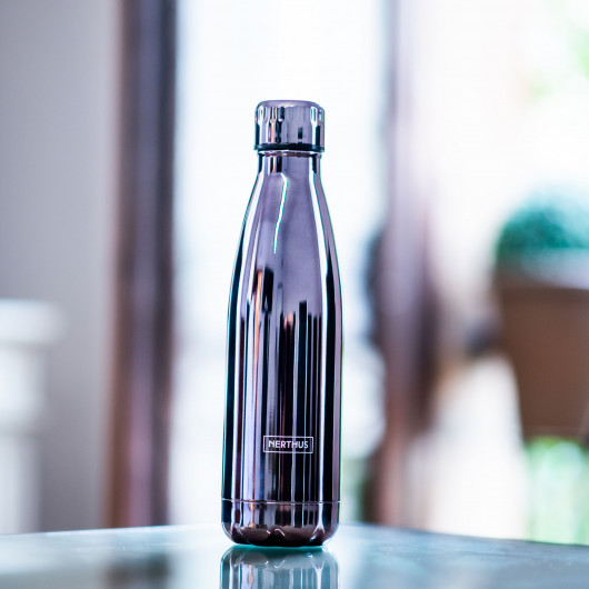 Bouteille isotherme METALLIQUE à double paroi, 500 ml, Gourde en acier inoxydable - Garde Froid 8h ou Chaud 12h - Sans BPA