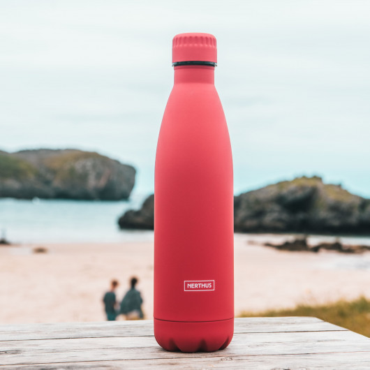 Bouteille isotherme corail à double paroi, 750 ml, Gourde en acier inoxydable - Garde Froid 8h ou Chaud 12h - Sans BPA